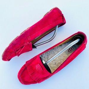 UGG Odessa Red Suede Sheepskin Loafers Moccasins